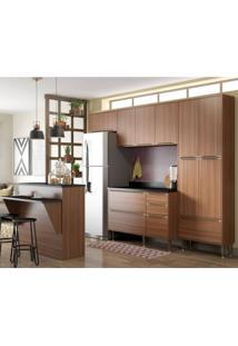 Cozinha Completa Com Bancada E Balcão Com Tampo 6 Peças 13 Portas Calábria Multimóveis Nogueira