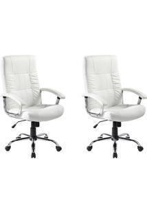 Conjunto Com 2 Cadeiras De Escritório Presidente Giratórias Office Plus Branco
