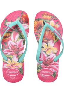 Sandália Havaianas Slim Floral Fc Rosa
