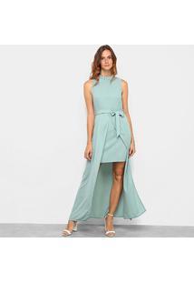 Vestido Allexia Longo Sobreposição - Feminino-Verde