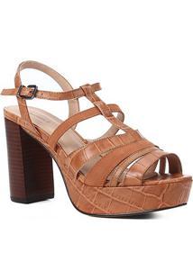 Sandália Couro Shoestock Meia Pata Tiras Mix Materiais Feminina - Feminino-Caramelo
