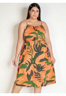Vestido Folhagem Laranja Com Elástico Plus Size