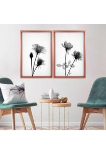 Quadro Com Moldura Chanfrada Flores Preto E Branco Rose Metalizado - Grande