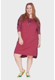 Vestido Bold Mullet Plus Size Feminino - Feminino-Bordô