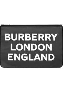 Burberry Clutch De Couro Com Logo - Preto