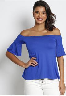 Blusa Ciganinha Com Renda - Azul - Thiptonthipton