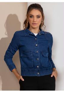 Jaqueta Azul Jeans Com Bolsos