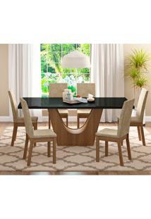 Conjunto De Mesa De Jantar Com 6 Lugares Úrsula Suede Imperial Rustic E Preto