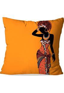 Capa De Almofada Africana Laranja 35X35Cm - Multicolorido - Dafiti