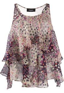 Dsquared2 Blusa Floral Com Babados - Neutro