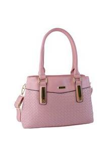 Bolsa Feminina Média Detalhe Trançado Elegante Estruturada De Alta Qualidade Rosa