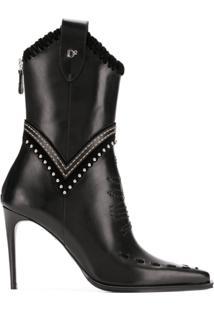 Dsquared2 Ankle Boot 'Western' De O Couro - Preto
