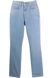 Chiara Ferragni Flirting Embroidered Slim Fit Jeans - Azul