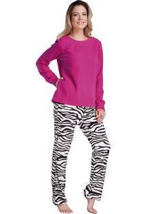 Pijama Longo Inspirate Animal Print Pink