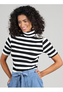 Blusa Feminina Listrada Com Botões Manga Curta Gola Alta Branca