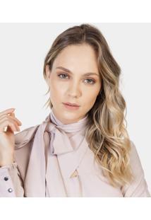 Blusa Tecido Gola Alta Laço Rosa Beleza - Lez A Lez