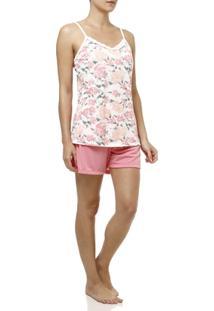 Pijama Curto Feminino Rosa - Feminino