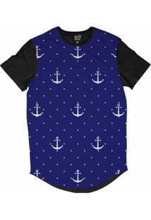 Camiseta Longline Long Beach Náutica Âncora E Poa Sublimada Masculina - Masculino-Azul