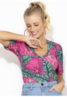 Blusa De Malha Canelada Estampada Rosa