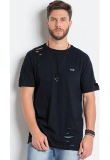 Camiseta Preta Longline Detalhe Destroyed