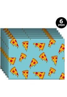 Kit 6Pçs Jogo Americano Mdecor Pizza 40X28Cm Azul