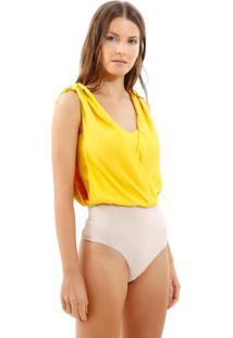 Body Bobô Scalea Alfaiataria Amarelo Feminino (Amarelo Medio, Pp)