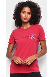 Blusa Calvin Klein Estampada Feminina - Feminino-Vermelho