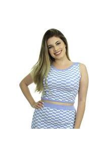 Blusa Cropped Tricot Laís Shopping Do Tricô Verão Modal Xadrez