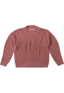 Blusa Rosa Claro Ampla Em Tricô