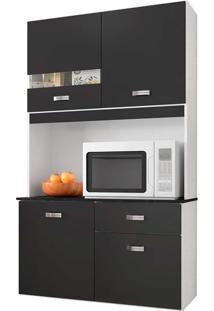 Cozinha Compacta 4 Portas E 1 Gaveta Lili - Poquema - Preto