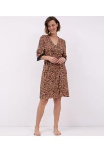 Robe Estampa Animal Print Com Renda