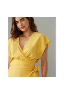 Amaro Feminino Blusa Mangas Amplas Laço Cintura, Amarelo