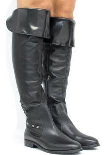 Bota Zariff Shoes Over The Knee Em Couro Feminina - Feminino-Preto