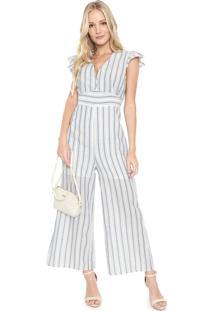 Macacão Lily Fashion Pantacourt Listrado Branco/Azul