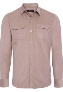 Camisa Masculina Veludo Cotelê - Bege