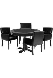 Mesa De Jogos Carteado Redonda Victoria Tampo Reversível Preto Com 4 Cadeiras Liverpool Corino Preto Liso - Gran Belo