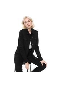 Jaqueta Sarja Calvin Klein Jeans Trucker Preta