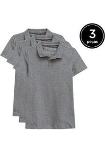 Kit 3 Camisas Polo Basicamente Feminino - Feminino-Cinza