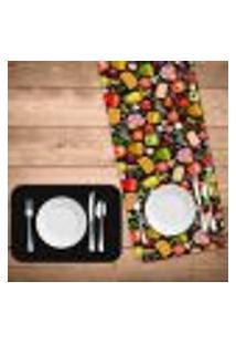 Jogo Americano Com Caminho De Mesa Premium Pizza Kit Com 2 Pçs + 2 Trilhos
