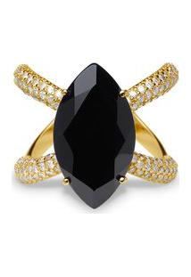 Anel Ouro Amarelo Quartzo Negro E Diamantes