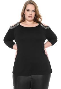 Blusa Cativa Plus Open Shoulder Preta