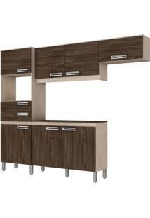 Cozinha Compacta Briz B107 C/ Tampo 7 Portas 2 Gavetas Bege/Moka