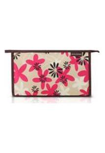 Necessaire Envelope Estampada Tam. G - Marrom/Floral - Nylon