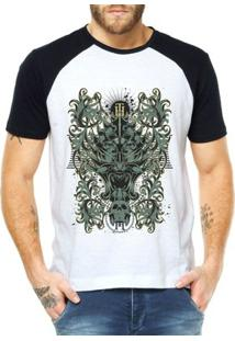 Camiseta Criativa Urbana Raglan Totem Tribal Caveiras - Masculino-Branco