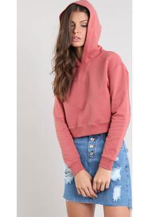 Blusão Feminino Básico Cropped Com Capuz Em Moletom Rosa