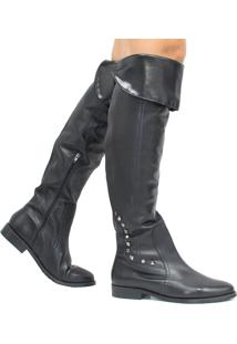 Bota Zariff Shoes Over The Knee Em Couro Preto
