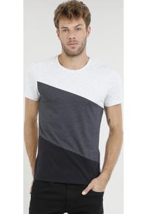 Camiseta Masculina Slim Fit Com Recorte Manga Curta Gola Careca Cinza Mescla Claro