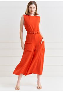 Macacão Mx Fashion Pantacourt De Crepe Malu Coral - Kanui