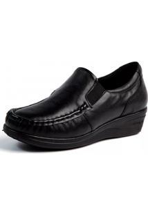 Mocassim Couro Doctor Shoes Anabela 182 Pespontos Preto