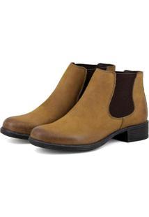 Botinha Chelsea Feminina Boots Em Camurça - Feminino-Caramelo